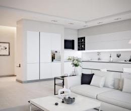 Nội thất màu trắng đem lại vẻ đẹp tinh tế cho căn hộ