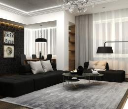 Căn hộ nhỏ phong cách nhờ kết hợp nội thất gỗ với gam màu đen-trắng