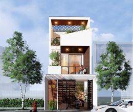 Ấn tượng mẫu nhà phố 1 trệt 1 lầu 1 tum dành cho vợ chồng trẻ, kinh phí 1,5 tỷ đồng