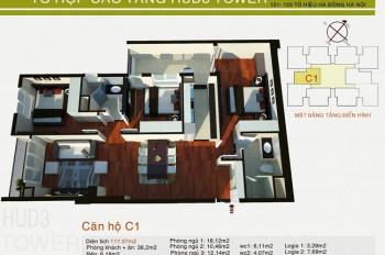 Chuyển công tác, bán gấp căn hộ 117,07m2 chung cư HUD3 Tower, Tô Hiệu, Hà Đông