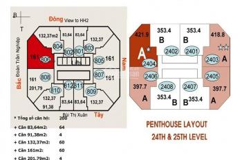 Ban quản lý Vincom Bà Triệu cho thuê các căn 84m2 - 1PN, 132m2 - 2PN, 161m2 - 3PN và 218m2 - 3PN