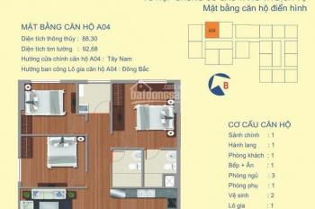 Suất ngoại giao căn A4 (88.3m2) 3 ngủ chung cư 122 Vĩnh Tuy giá rẻ