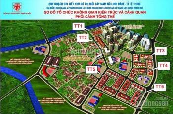 Tôi cần bán đất liền kề Tây Nam Linh Đàm DT 90m2, vị trí đẹp, đường rộng 12m, view vườn hoa