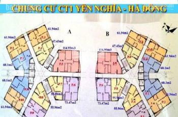 Cần tiền bán gấp CC CT1B Yên Nghĩa, căn 1010, DT: 61.94m2, giá 12tr/m2. LH: 0963166736
