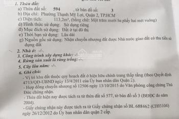 Bán đất 5.5x20.4m, đường nhựa rộng 5m, Nguyễn Thị Định, P. Thạnh Mỹ Lợi, Q2