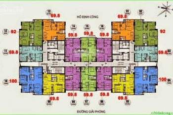 Bán chung cư CT36 Định Công, tầng 1805, DT: 69.8m2, giá bán 23 triệu/m2. LH: 0984 486 179