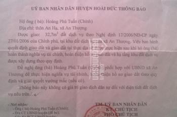 Gia đình cần tiền xin việc cho con nên cần bán 50m2-100m2 đất dịch vụ Nam An Khánh, Hoài Đức Hà Nội
