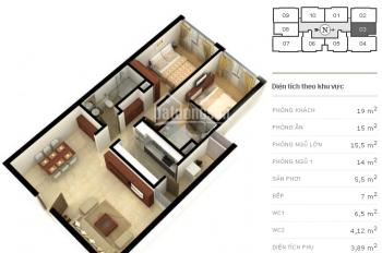 Bán căn hộ chung cư tầng 4 căn 03 có 2PN diện tích 91m2 dự án Richland Southern số 181 Xuân Thuỷ