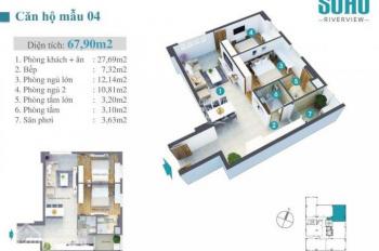 Kẹt tiền bán gấp căn góc lầu cao, view đẹp 69m2 căn hộ Soho Riverview Bình Quới 1