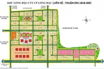 Đất nền sổ đỏ KDC Long Hậu, DT: 90m2, giá: 1 tỷ 550 (17.2tr/m2), cách 500m ra đường lớn Long Hậu