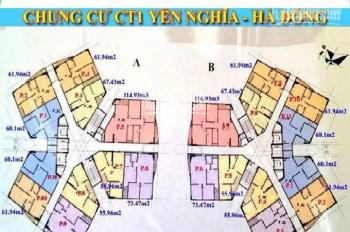 Bán căn hộ chung cư CT1B Yên Nghĩa, tầng 1509, DT 61.9m2, giá bán 11tr/m2. LH 0983072573