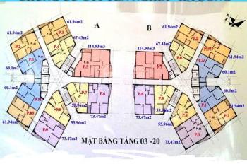 Bán gấp căn hộ chung cư CT1B Yên Nghĩa căn 1510 DT 61.94m2 giá 11.8tr/m2. LH: 0963166736