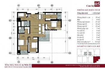 Căn góc 05 tầng cao tòa N01-T3 khu Đoàn Ngoại Giao diện tích 131.04m2. LH: 0904 903 669