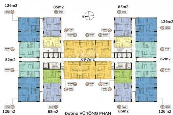 Chính chủ bán cắt lỗ chung cư 349 Vũ Tông Phan, 1521 (84m2) và 1506 (126m2) giá 27tr/m2. 0968822071