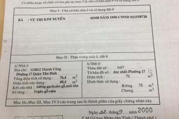 MTKD 207 Thành Công, Tân Phú, 4x19m, vị trí khá đẹp giá mềm