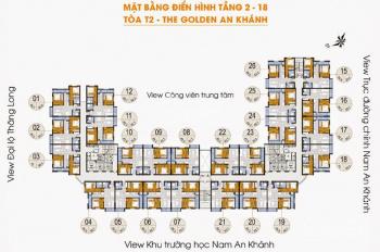 Chính chủ bán CC The Golden An Khánh căn 1208 tòa 18T2, DT 66m2 giá 1 tỷ/căn. LH 0988146540