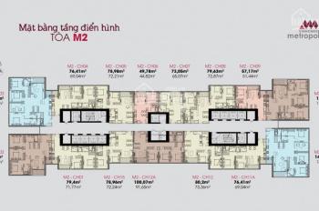 Chính chủ bán gửi bán lại căn hộ 3 phòng ngủ dự án Vinhomes Metropolis đẹp nhất tòa M2, view 3 hồ