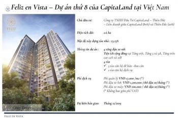 Bán gấp căn hộ Feliz En Vista 1PN, giá 3.3 tỷ giao hoàn thiện tầng cao. LH: 0901.33.88.01