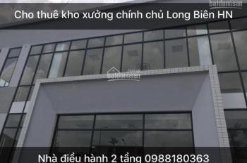 Cho thuê kho, xưởng 2500m2 tại Long Biên, Hà Nội chính chủ 0988180363