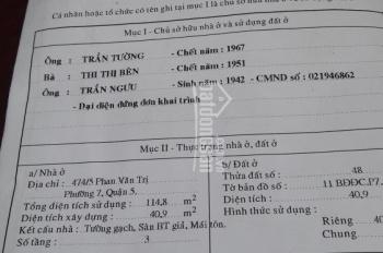 Nhà bán Phan Văn Trị, P7, Q5, 3,8x12m, trệt, 2 lầu, nhà mới, giá 5,7 tỷ
