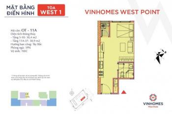 Chỉ với 340 triệu ký hợp đồng mua bán ngay căn hộ officetel dự án Vinhomes West Point, đầu tư tốt
