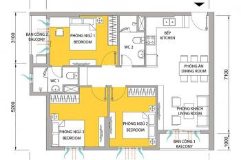Bán căn 3PN nhà có 2 ban công view thoáng mát, ở tầng 7, giá bán 3.45 tỷ. LH: 0773901588