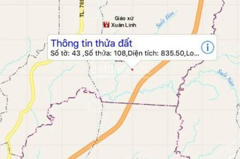 Bán gấp lô đất mặt tiền, ở Xuân Thạnh, Thống Nhất, Đồng Nai, diện tích 835m2, sổ riêng chính chủ