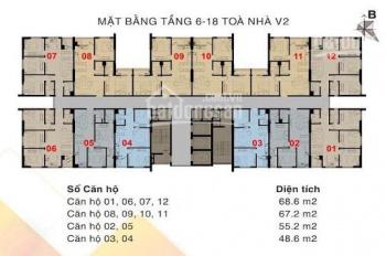 Bán căn chung cư The Vesta 48m2 tầng trung 03,04 tòa V1, V2 giá 688tr bao gồm VAT+NT, 0916708696