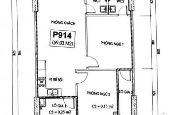 Bán căn hộ CT2A - ban công hướng Đông, giá 16,5tr/m2 có thương lượng