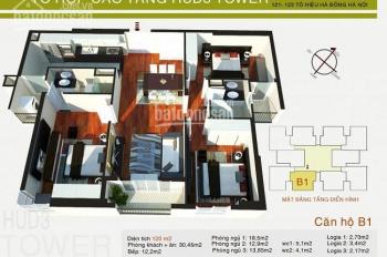 Chính chủ bán căn hộ 120m2 chung cư HUD3 Tower phố Tô Hiệu, Hà Đông, tel 0973883322