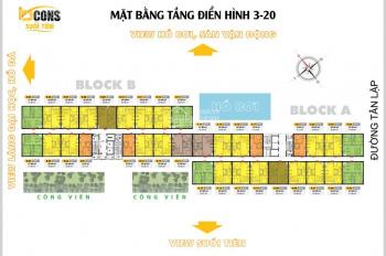 Suất nội bộ CĐT 2 căn giá tốt Bcons Suối Tiên, 50m2 & 57m2, 2PN, 2WC, view Đông Bắc, Tây Nam
