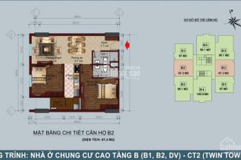Chính chủ bán gấp căn góc 2PN (67 m2), chung cư B1 -B2 Tây Nam Linh Đàm, giá rẻ. Ban công Đông Nam