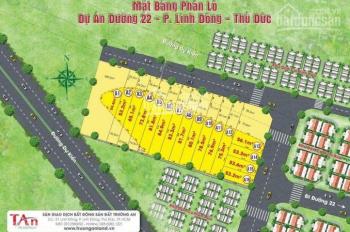 Bán đất đường 22 (cạnh chung cư 4S), P. Linh Đông, Thủ Đức, giá: 51 tr/m2
