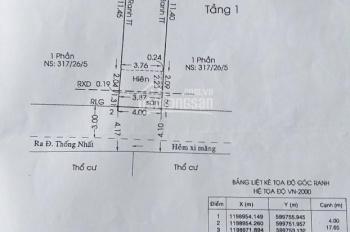 Lô đất HXH 70.7m2 đường Thống Nhất, P. 11, Gò Vấp, giá: 5 tỷ