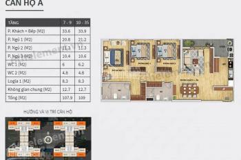 Căn 3 ngủ 109m2 thông thủy đẹp nhất dự án 6TH Element Tây Hồ Tây nội thất cao cấp thiết bị Châu Âu