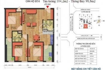 CC bán CHCC tại Ngoại Giao Đoàn dt 98,6m2 giá 3 tỷ full nội thất, BC Tây, tầng trung, 0983898828