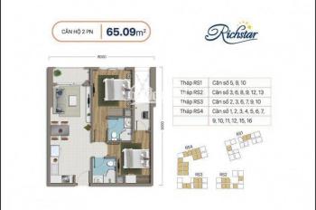 Hỗ trợ vay ngân hàng CH Richstar 65m2, 2PN, 2WC giá 1tỷ95. Đã nhận nhà, thật 100%, LH 0931838127
