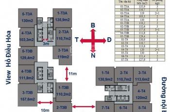 Chính chủ bán gấp CHCC Horizon Tower, 1604-T3A: 103,3m2 và 1505-T4: 130m2, giá 27tr/m2. 0971085383
