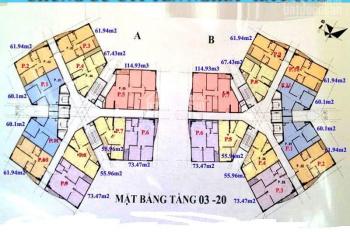 Bán căn hộ chung cư CT1 Yên Nghĩa, căn 01, tòa A, DT 60.1m2, giá bán 12 tr/m2. LH 0986854978