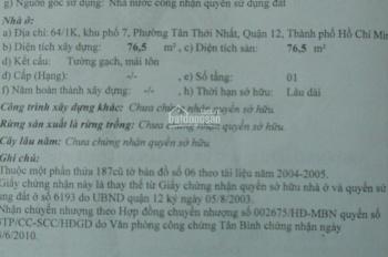 Chính chủ cần bán nhà MT đường TTN02, KP7, phường Tân Thới Nhất, Q12