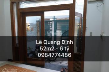 Bán nhà hẻm 591 Lê Quang Định, P1, Gò Vấp cách mặt tiền 1 căn công nhận 52m2. Giá 6 tỷ