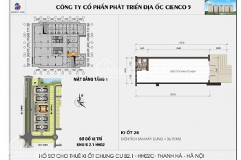 Chính chủ cần bán ki ốt tòa B2.1 HH02C khu đô thị Thanh Hà, DT 36.7m2, vị trí trung tâm