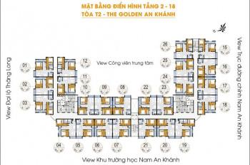 Cần bán căn hộ chung cư Golden An Khánh tòa 18T Tầng 1008 DT 65m2. Giá bán 900tr, LH 0983072573