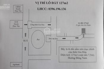 Bán đất thổ cư tại thị trấn huyện Phúc Thọ, DT 127m2, MT 7,5m. 9 triệu/m2, LHCC: 0396.196.136