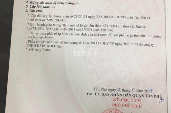 Bán đất hẻm 93 Bờ Bao Tân Thắng, P. Sơn Kỳ, DT: 4x14m vuông vức hẻm 6m, khu dân trí cao. Giá 4,3 tỷ