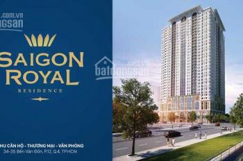 Bán gấp căn hộ Sài Gòn Royal 2 PN, giá 4.9 tỷ tầng trung view thoáng. PKD Novaland 0938167529