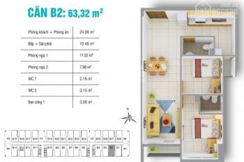 Bán căn hộ 8X Plus, ngay cầu Tham Lương, quận 12, 2pn, 2wc, giá 1,4 tỷ