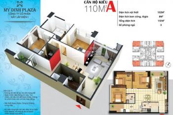 Bán cắt lỗ gấp căn hộ Mỹ Đình Plaza, 3 ngủ diện tích 110m2 giá 2,86 tỷ