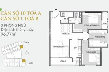 Chính chủ cần bán căn hộ 96,77m2, tầng 12 căn góc 01 tòa B - Green Pearl 378 Minh Khai