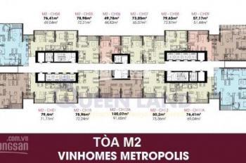 CC cắt lỗ 300tr Vinhome Metropolis, 1205 -72.21m2, 1502-135.34m2, 65tr/m2,0373918310/0918758326